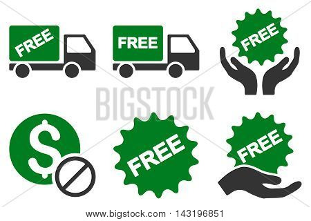 Free of Charge vector icons. Pictogram style is bicolor green and gray flat icons with rounded angles on a white background.