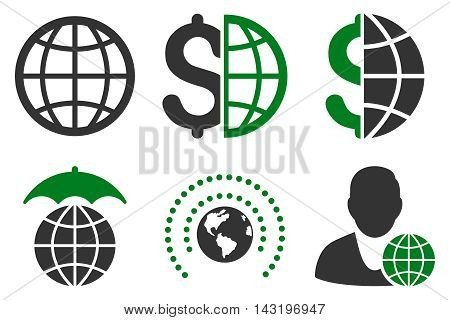 Global Business vector icons. Pictogram style is bicolor green and gray flat icons with rounded angles on a white background.