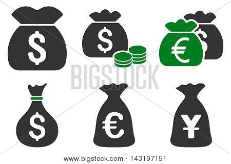 Money Bag vector icons. Pictogram style is bicolor green and gray flat icons with rounded angles on a white background.