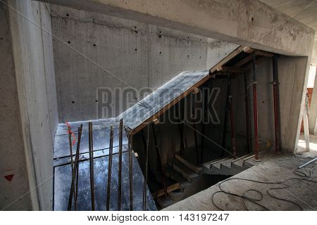 stairs building construction . cast iron construction site