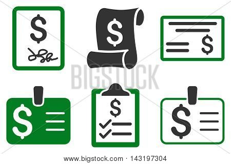 Payment Cheque vector icons. Pictogram style is bicolor green and gray flat icons with rounded angles on a white background.