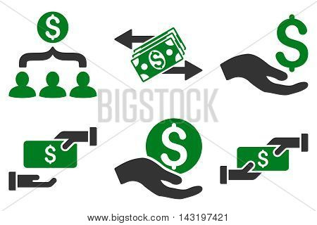 Payment vector icons. Pictogram style is bicolor green and gray flat icons with rounded angles on a white background.