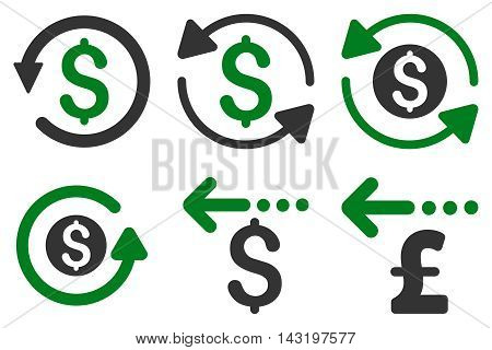 Refund vector icons. Pictogram style is bicolor green and gray flat icons with rounded angles on a white background.