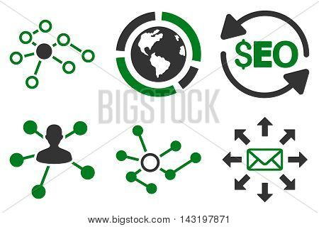 Seo Link Building vector icons. Pictogram style is bicolor green and gray flat icons with rounded angles on a white background.