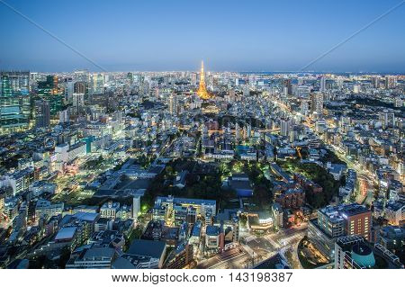 Tokyo city view and Tokyo Tower at twilight