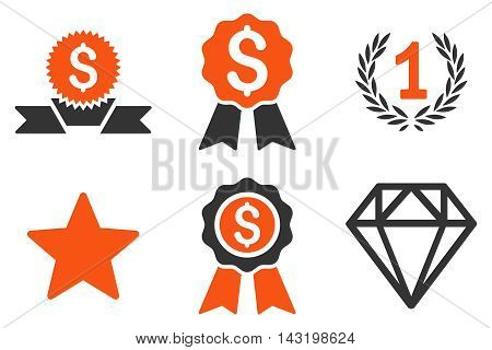 Award vector icons. Pictogram style is bicolor orange and gray flat icons with rounded angles on a white background.