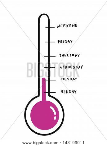 Daily glass tube meter illustration on white background
