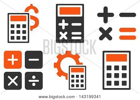 Calculator vector icons. Pictogram style is bicolor orange and gray flat icons with rounded angles on a white background.
