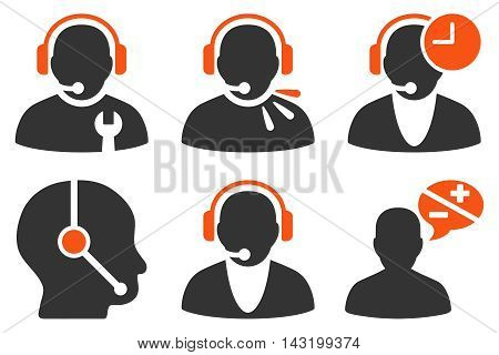 Call Center Operator vector icons. Pictogram style is bicolor orange and gray flat icons with rounded angles on a white background.