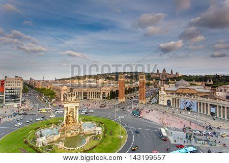 BARCELONA SPAIN - JUNE 10 2016,  Barcelona - Espana square Spain at a night