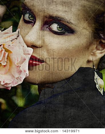 Grunge Woman And Rose.