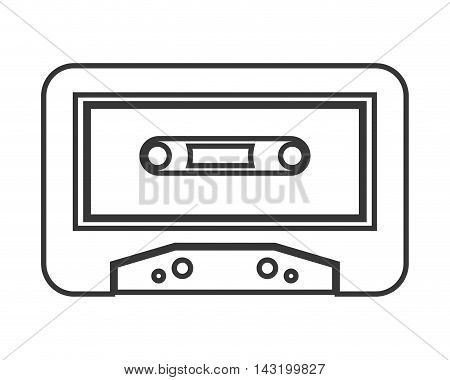 cassette music sound technology silhouette icon. Flat and Isolated design. Vector illustration