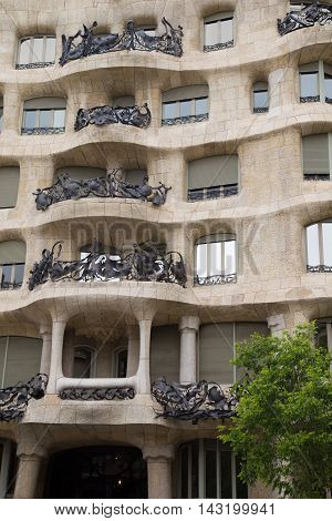 BARCELONA SPAIN - JUNE 15 2016: Casa Mila better known as La Pedrera.
