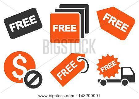 Free Tag vector icons. Pictogram style is bicolor orange and gray flat icons with rounded angles on a white background.
