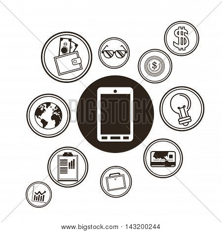 smartphone technology media sketch icon set. Black white isolated design. Vector illustration