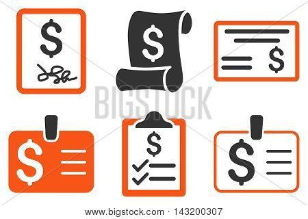 Payment Cheque vector icons. Pictogram style is bicolor orange and gray flat icons with rounded angles on a white background.