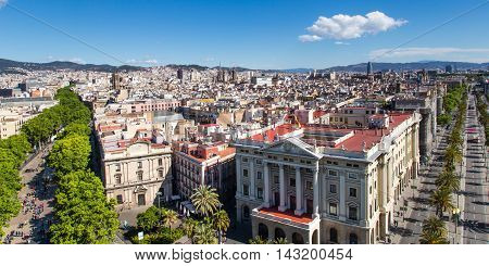 Barcelona, Spain - May 4 2016: Aerial view of Barcelona from Christopher Columbus monument