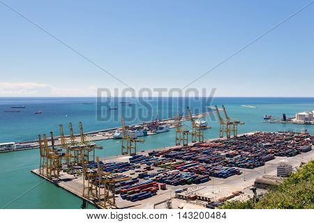 Barcelona Spain - MAY 10 2016: A container ships are standing in Barcelona port. It is Catalonia's largest port