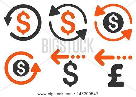 Refund vector icons. Pictogram style is bicolor orange and gray flat icons with rounded angles on a white background.