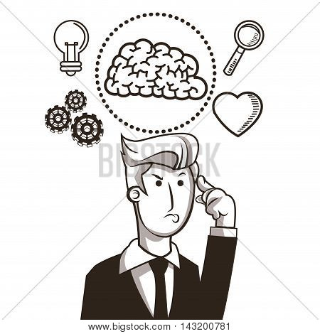businessman brain gears bulb heart lupe sketch icon. Black white isolated design. Vector illustration