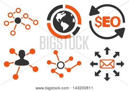Seo Link Building vector icons. Pictogram style is bicolor orange and gray flat icons with rounded angles on a white background.