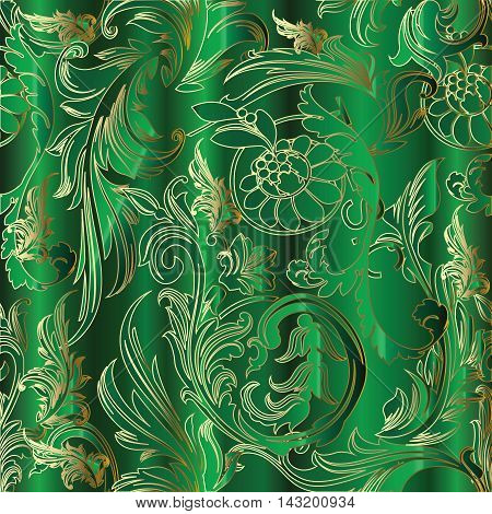 Bright green emerald Baroque luxury vector seamless pattern background with vintage antique medieval volumetric  gold flowers and ornaments. Stylish  illustration and 3d decor elements with shadow and highlights. Endless elegant  texture.