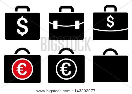 Business Case vector icons. Pictogram style is bicolor intensive red and black flat icons with rounded angles on a white background.