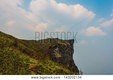 The peak of the mountain and Clouds Phu Chi Fa in Chiang Rai City Thailand