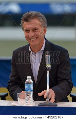 BUENOS AIRES ARGENTINA - DEC 2 2015: Newly elected President of Argentina Mauricio Macri at ceremony to honor him for his work as President of Boca Juniors between 1995 and 2007