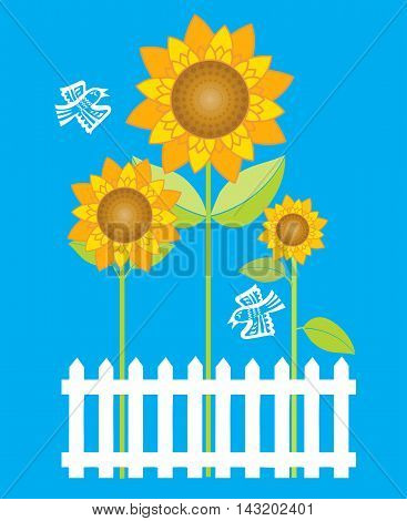Stylized sunflowers and birds behind traditional white picket fence