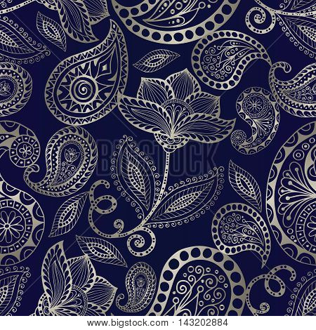 Paisley floral dark blue  ornamental pattern. Modern elegant stylish floral seamless pattern background with line art vintage volumetric  silver Paisley ornaments in Eastern style. Luxury illustration and royal 3d decor elements with shadow and highlights