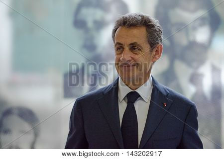Buenos Aires Argentina - May 6 2016: Former French president and head of France's Les Republicains party Nicolas Sarkozy during a visit to the former clandestine detention center of the Navy School.
