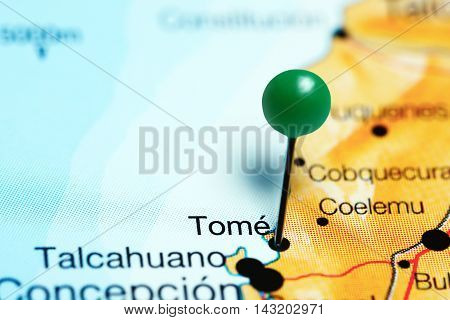 Tome pinned on a map of Chile