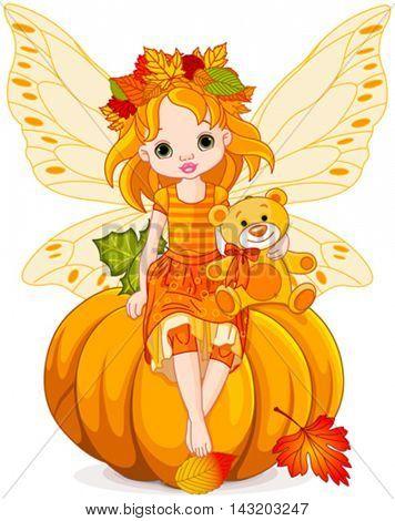 Little fairy sitting on pumpkin