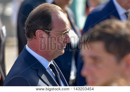 Buenos Aires Argentina - February 25 2016: French President Francois Hollande honours victims of the Argentine dictatorship with a visit to the Monument for the Victims of State Terrorism.