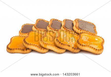 jam tartlets fresh isolated on white background.
