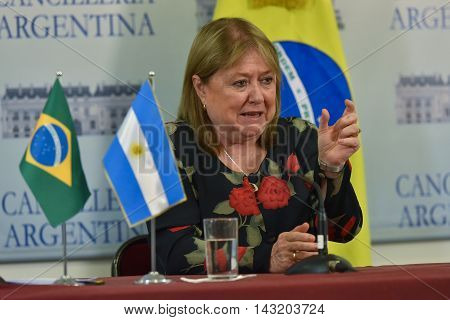 Buenos Aires Argentina - January 14 2016: Argentine Foreign Minister Susana Malcorra during a press conference after meeting with Brazil's Foreign Minister Mauro Vieira in Buenos Aires.