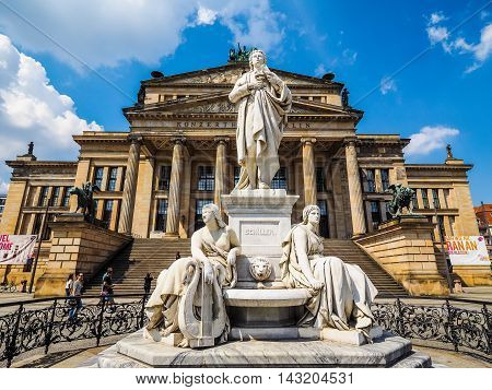 Schiller Statue In Front Of Konzerthaus In Berlin (hdr)