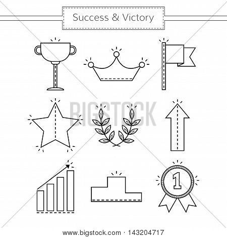 Victory and success. Set of linear flat icons isolated. Vector illustration