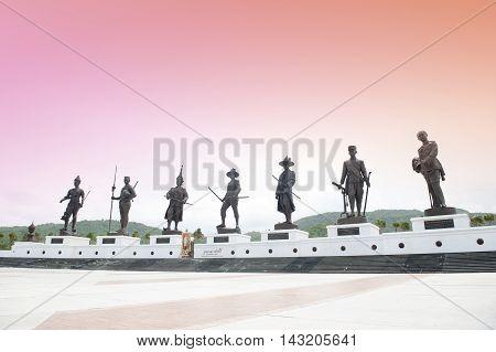 Hua Hin, Thailand - July 2, 2016 : Statues Of Seven Kings Of Thailand Located At Rajabhakti (ratchap