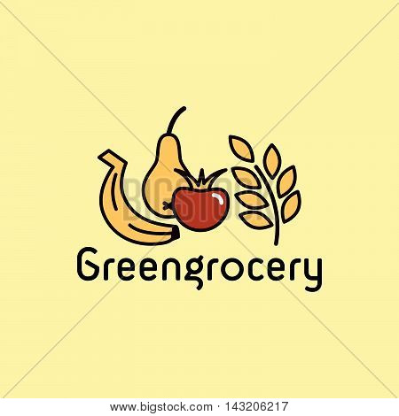 Vector line icon. Greengrocery section. Badge, signboard or banner.