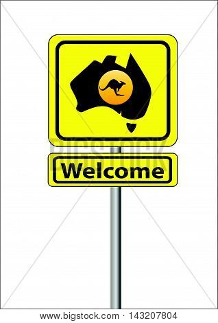 Yellow sign for Australia Welcome with a map and kangaroo