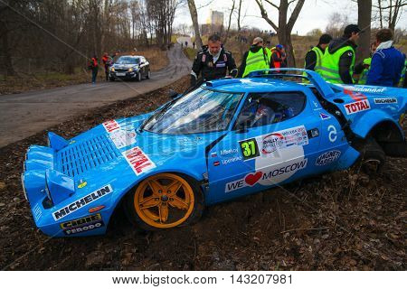 Moscow Russia - Apr 18 2015: Crash of the Lancia Stratos HF russian driver Alibekov Alexandr and co-driver Uperenko Oleg during the Rally Masters Show 2015 at the Krylatskoye District.