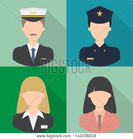 Avatar   Set of great flat icons with style long shadow icon and use for avatar, people, job, profession.