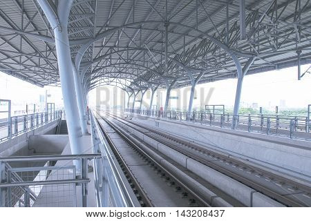 view railway high-speed train station. roof structure.