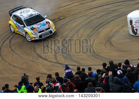 Moscow Russia - Apr 18 2015: VW Polo 4WD driver Lepekhov Mikhail and co-driver Novikov Evgeniy during the Rally Masters Show 2015 at the Krylatskoye District.