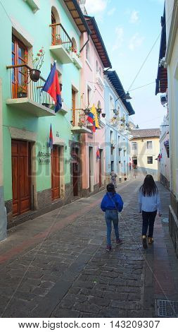 Quito Pichincha / Ecuador - August 16 2016: View of the traditional street of Ronda in the historical center of Quito. The historic center was declared by UNESCO the first Cultural Heritage on 1978