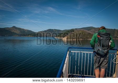 Cook Strait New Zealand - February 4 2016: Passenger on ferry traveling from Wellington to Picton via Marlborough Sounds New Zealand