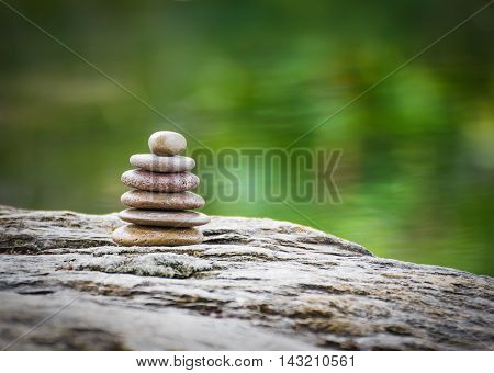 Stack Of Zen Rocks In Garden