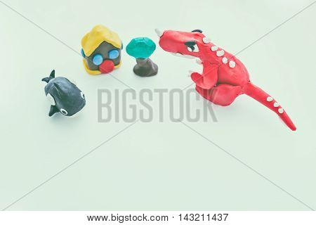Creative Dinosaur, Whale, House And Tree Clay Model. Play Dough Animal. Vintage Tone Effect.